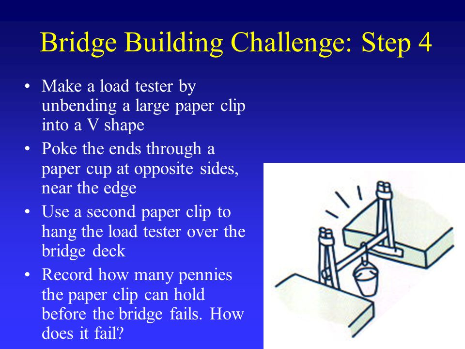 Bridge Building Challenge: Step 4 Make a load tester by unbending a large paper clip into a V shape Poke the ends through a paper cup at opposite sides, near the edge Use a second paper clip to hang the load tester over the bridge deck Record how many pennies the paper clip can hold before the bridge fails.