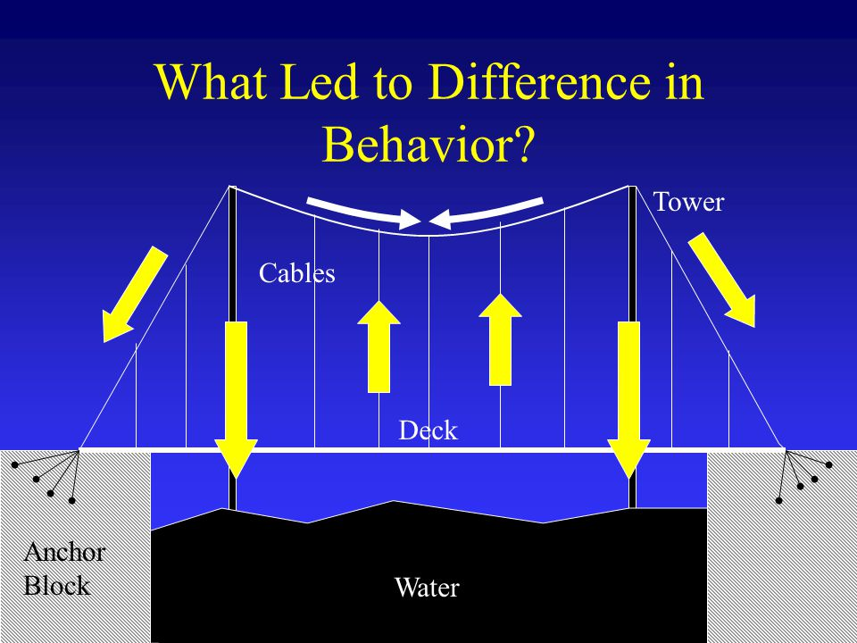 What Led to Difference in Behavior Anchor Block Tower Cables Water Deck
