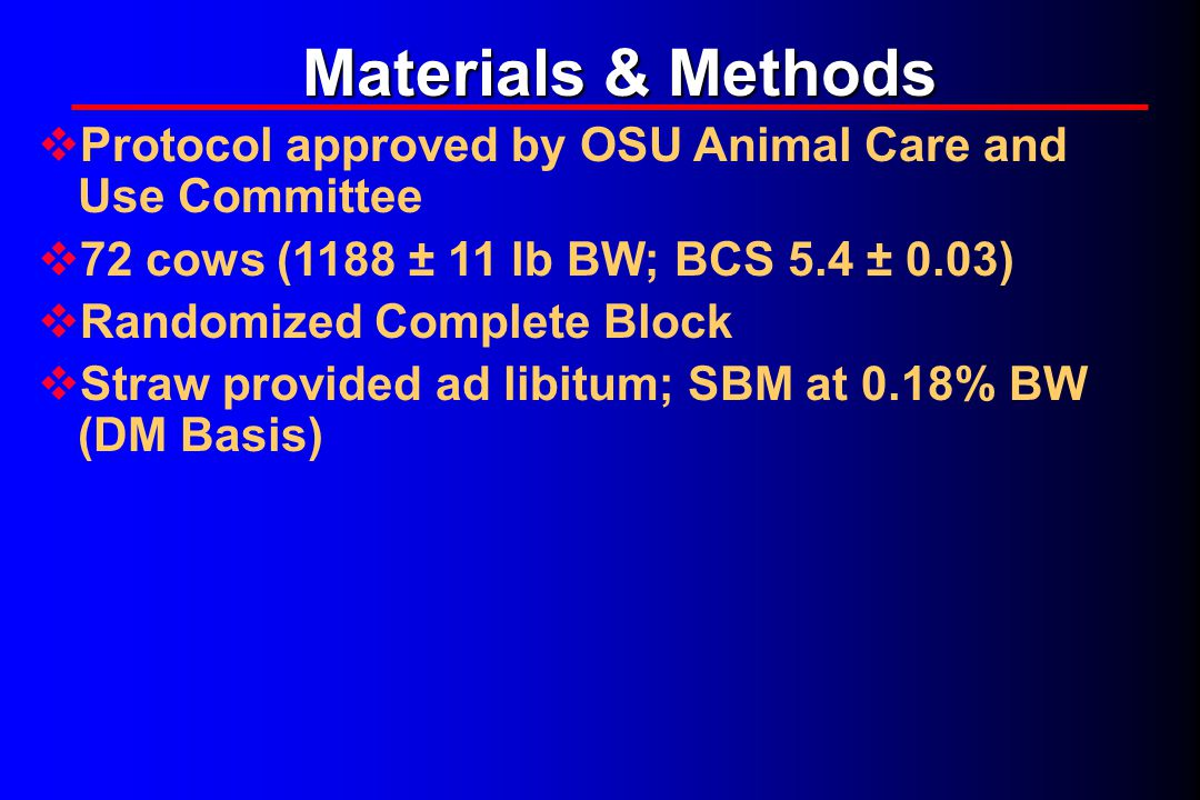 Materials & Methods  Protocol approved by OSU Animal Care and Use Committee  72 cows (1188 ± 11 lb BW; BCS 5.4 ± 0.03)  Randomized Complete Block  Straw provided ad libitum; SBM at 0.18% BW (DM Basis)
