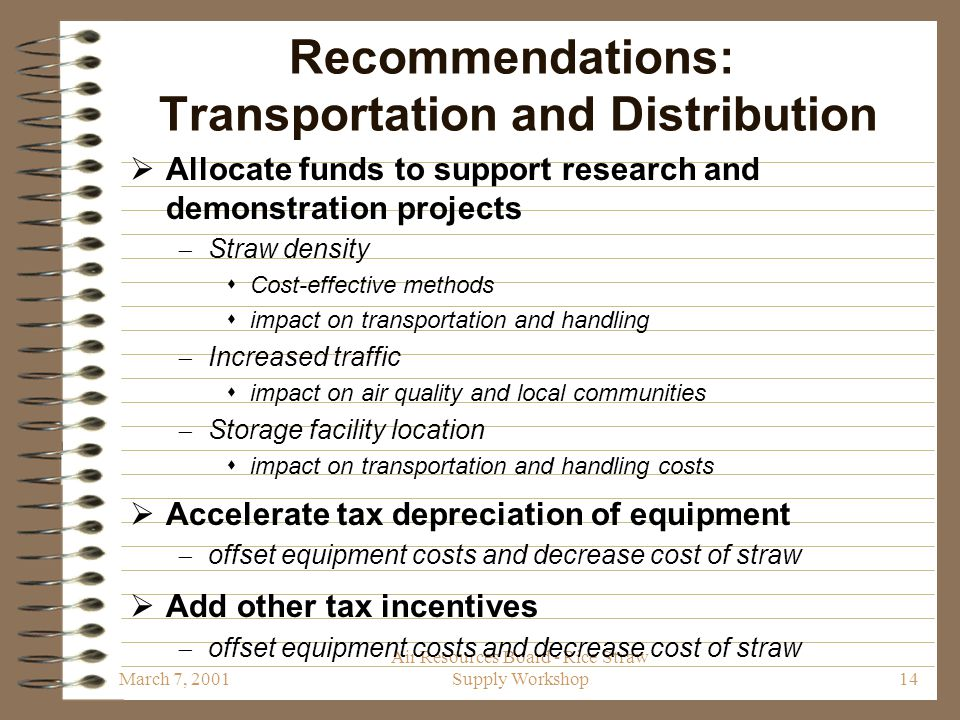 March 7, 2001 Air Resources Board - Rice Straw Supply Workshop14 Recommendations: Transportation and Distribution  Allocate funds to support research and demonstration projects  Straw density  Cost-effective methods  impact on transportation and handling  Increased traffic  impact on air quality and local communities  Storage facility location  impact on transportation and handling costs  Accelerate tax depreciation of equipment  offset equipment costs and decrease cost of straw  Add other tax incentives  offset equipment costs and decrease cost of straw