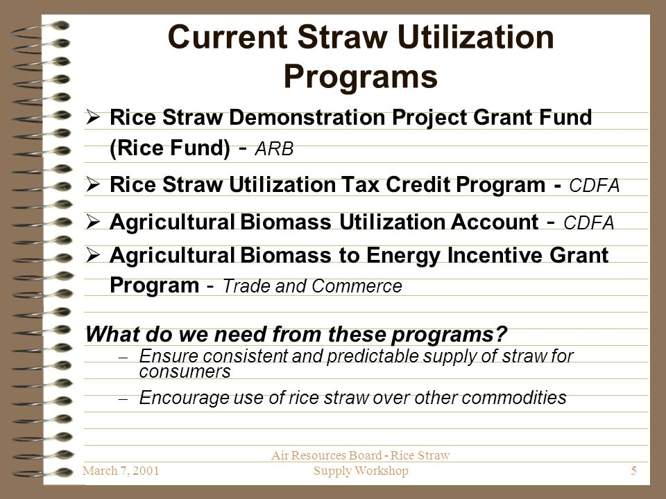 March 7, 2001 Air Resources Board - Rice Straw Supply Workshop16 Contact Information Theresa Najita Air Pollution Specialist California Air Resources Board 1001 I Street P.O.