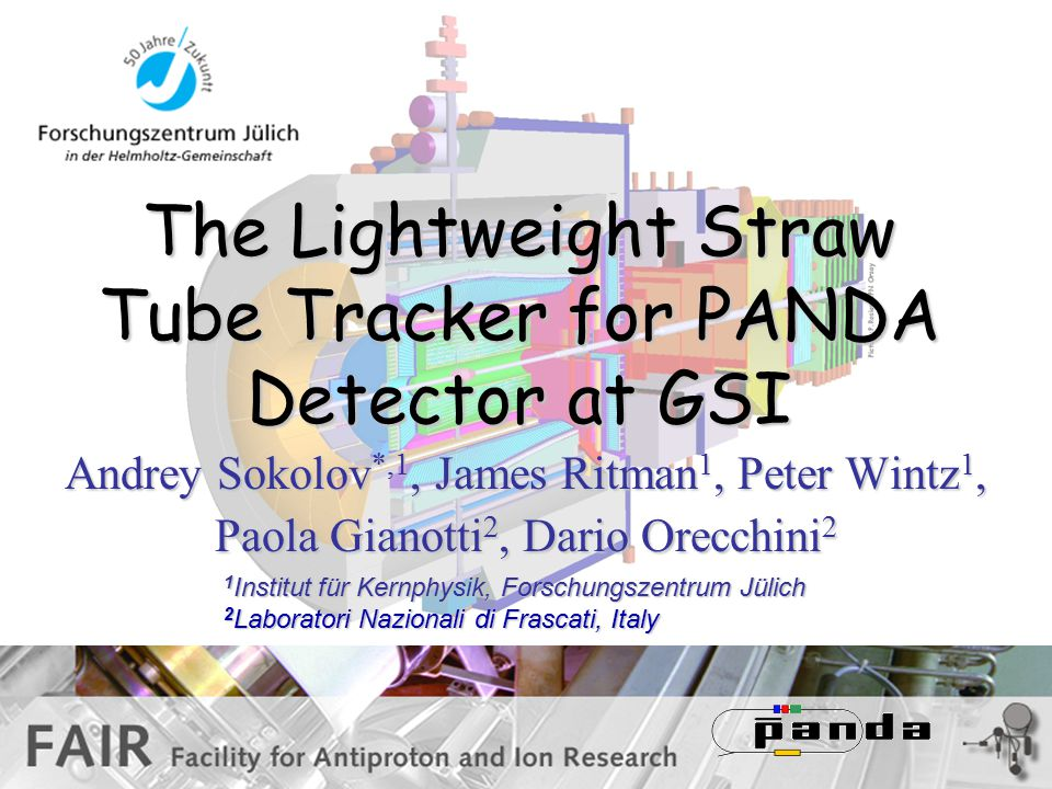 The Lightweight Straw Tube Tracker for PANDA Detector at GSI Andrey Sokolov *,1, James Ritman 1, Peter Wintz 1, Paola Gianotti 2, Dario Orecchini 2 1