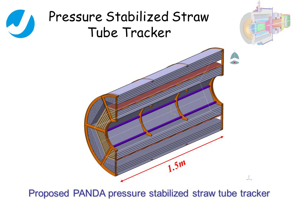 Proposed PANDA pressure stabilized straw tube tracker Pressure Stabilized Straw Tube Tracker 1.5m