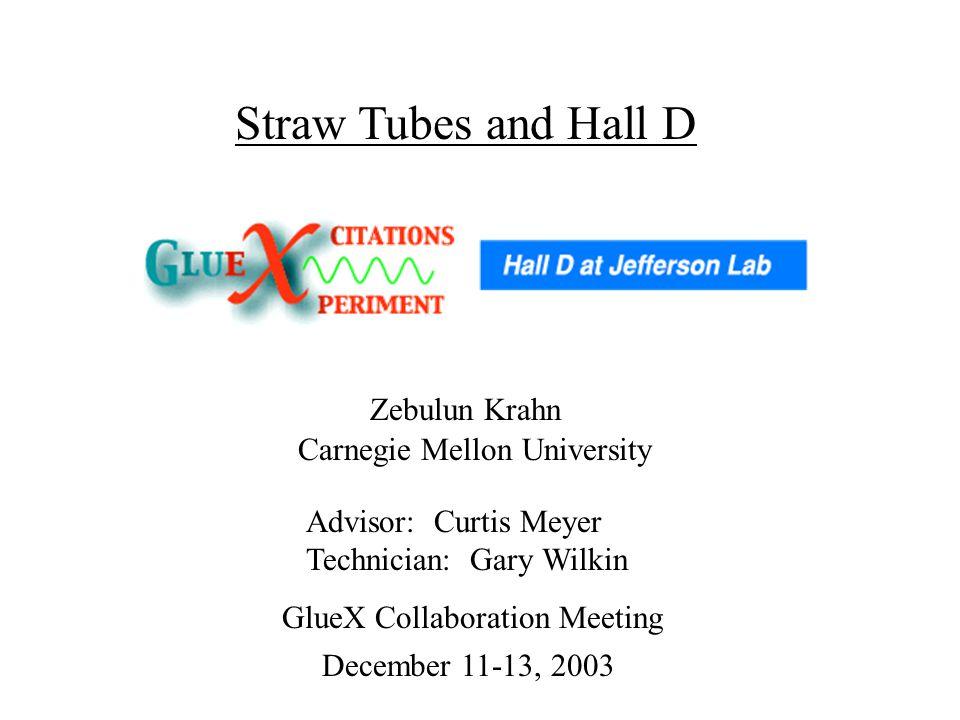 Zebulun Krahn Advisor: Curtis Meyer Technician: Gary Wilkin Carnegie Mellon University Straw Tubes and Hall D December 11-13, 2003 GlueX Collaboration Meeting