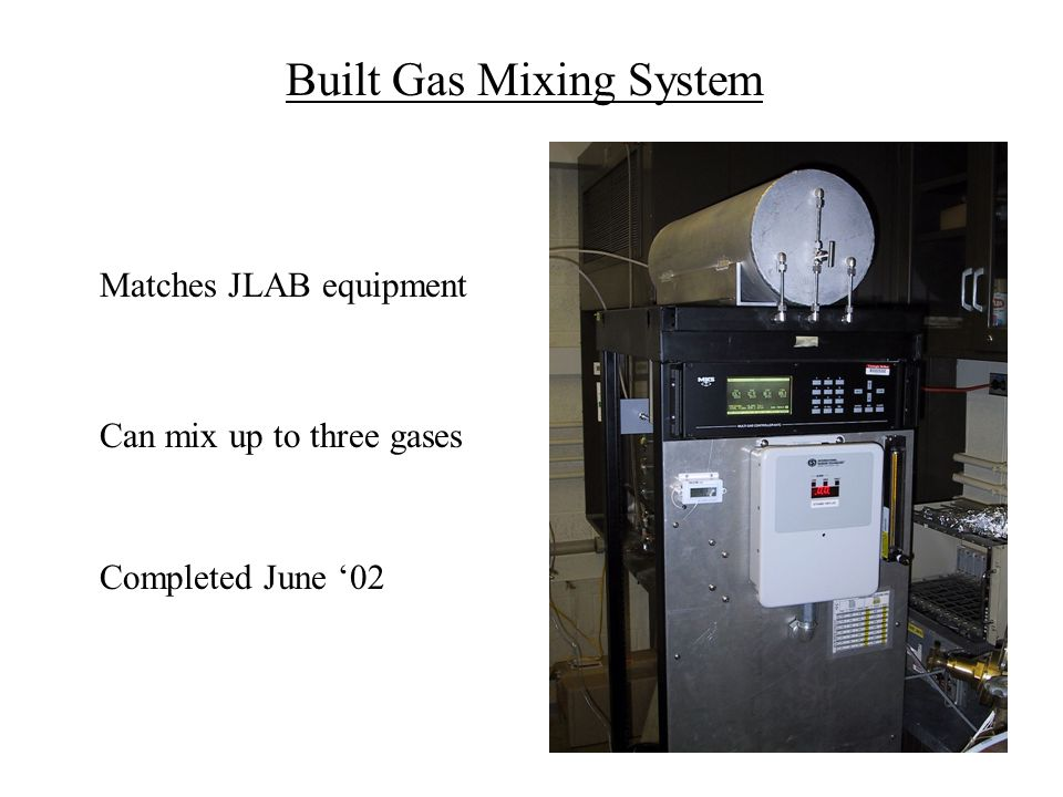 Built Gas Mixing System Matches JLAB equipment Completed June '02 Can mix up to three gases
