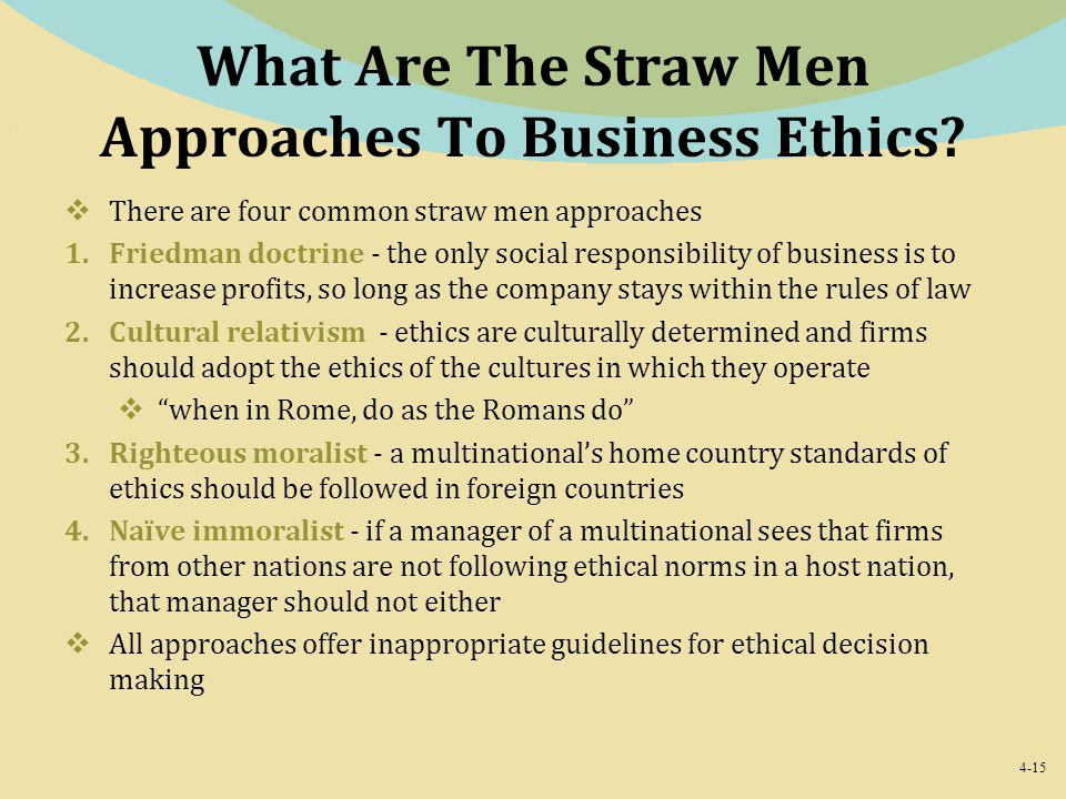 4-15 What Are The Straw Men Approaches To Business Ethics?  There are four common straw men approaches 1.Friedman doctrine - the only social responsi