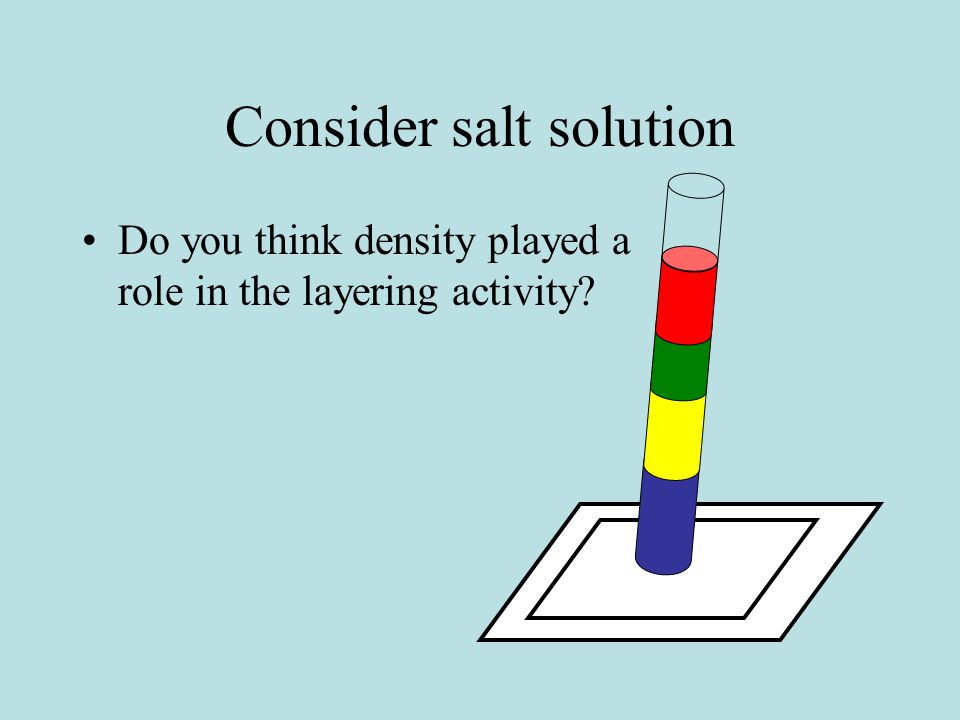 Consider salt solution Do you think density played a role in the layering activity