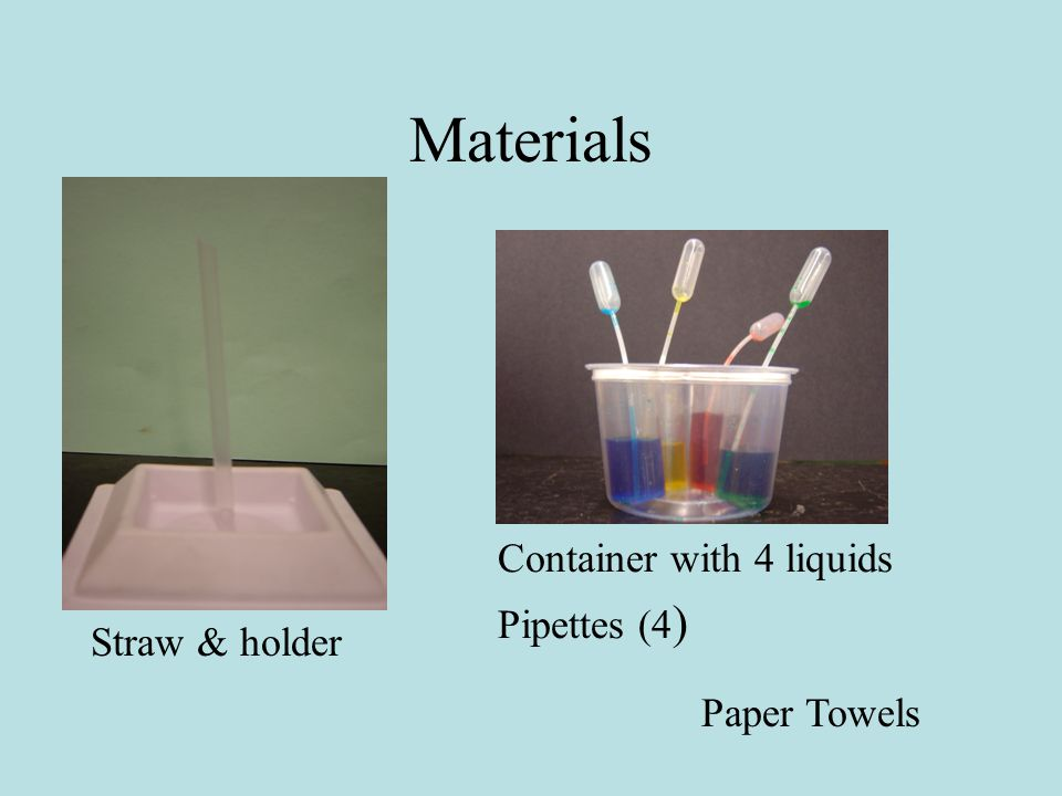 Materials Straw & holder Container with 4 liquids Pipettes (4 ) Paper Towels