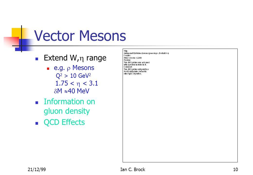 21/12/99Ian C. Brock10 Vector Mesons Extend W,  range e.g.  Mesons Q 2 > 10 GeV 2 1.75 <  < 3.1  M  40 MeV Information on gluon density QCD Effec