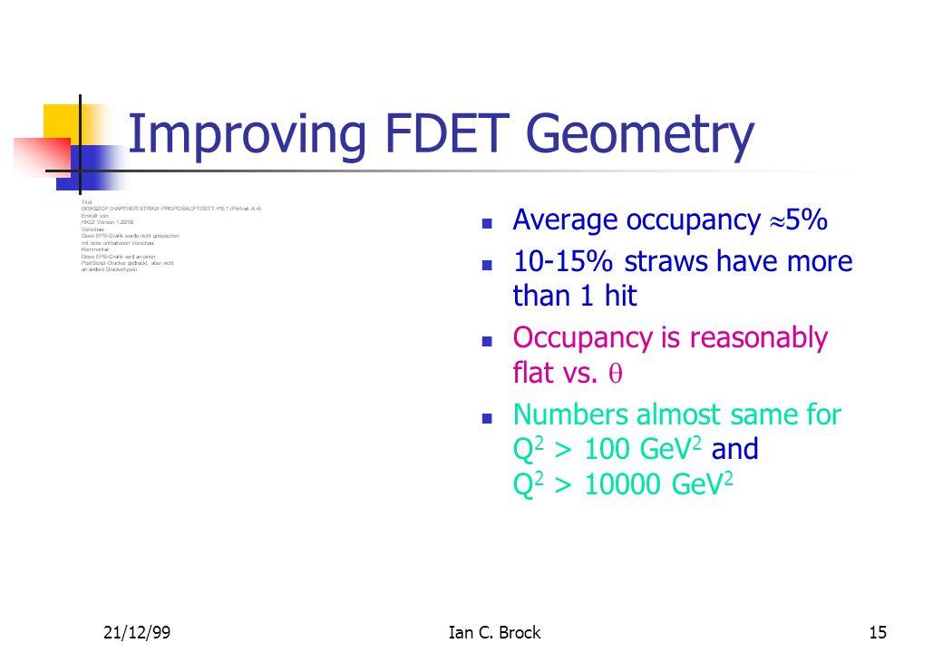 21/12/99Ian C. Brock15 Improving FDET Geometry Average occupancy  5% 10-15% straws have more than 1 hit Occupancy is reasonably flat vs.  Numbers al