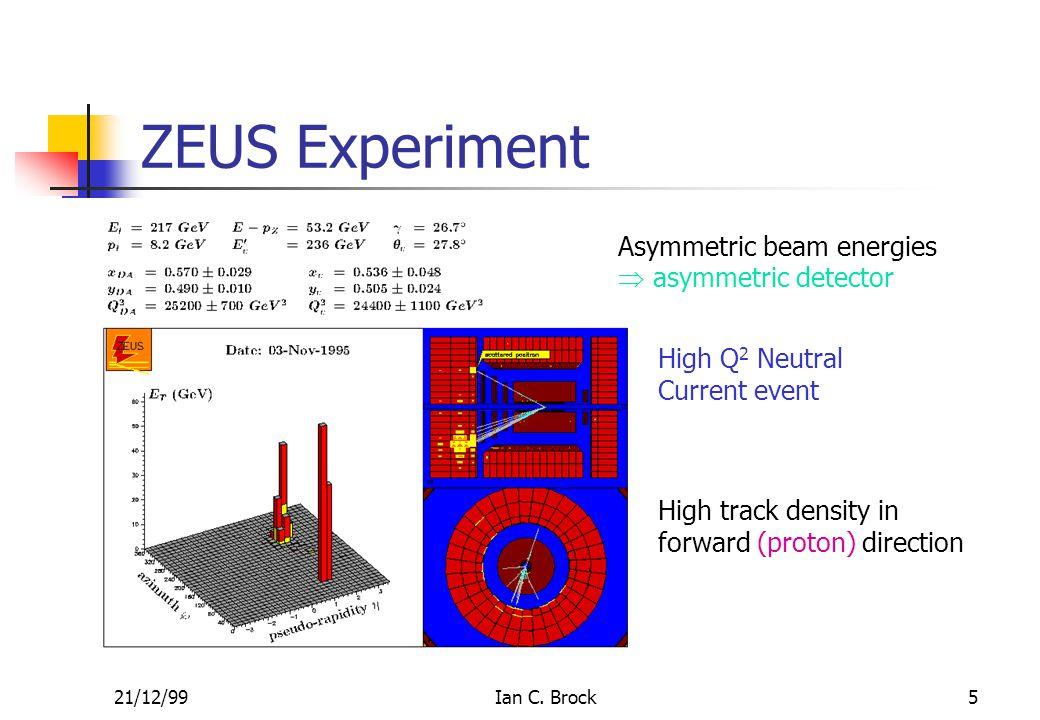 21/12/99Ian C. Brock5 ZEUS Experiment Asymmetric beam energies  asymmetric detector High track density in forward (proton) direction High Q 2 Neutral