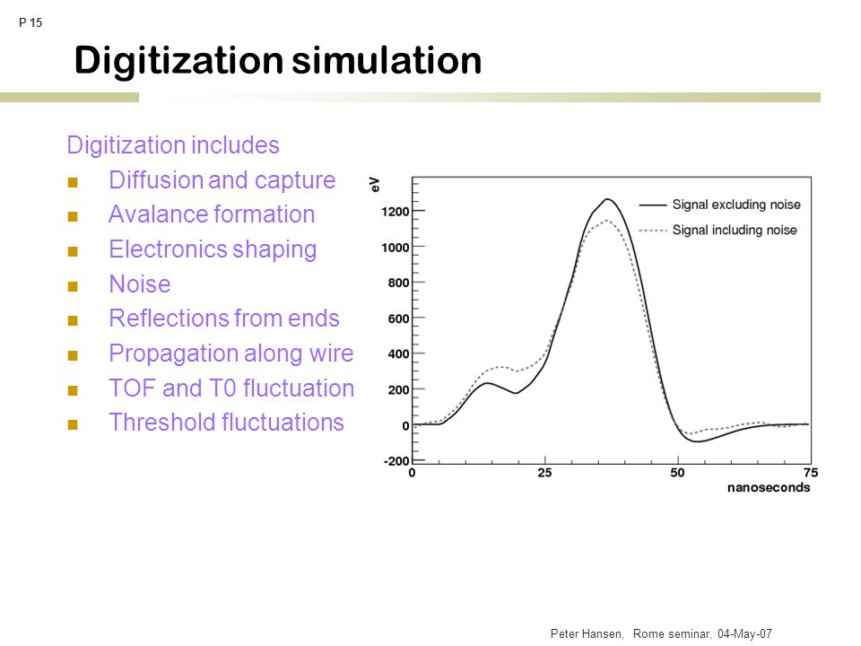 Peter Hansen, Rome seminar, 04-May-07 P 15 Digitization simulation Digitization includes Diffusion and capture Avalance formation Electronics shaping Noise Reflections from ends Propagation along wire TOF and T0 fluctuation Threshold fluctuations