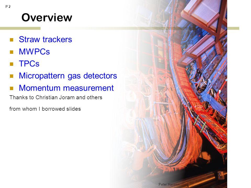 Peter Hansen, Lecture on tracking detectors P 53 Micro gaseous detectors