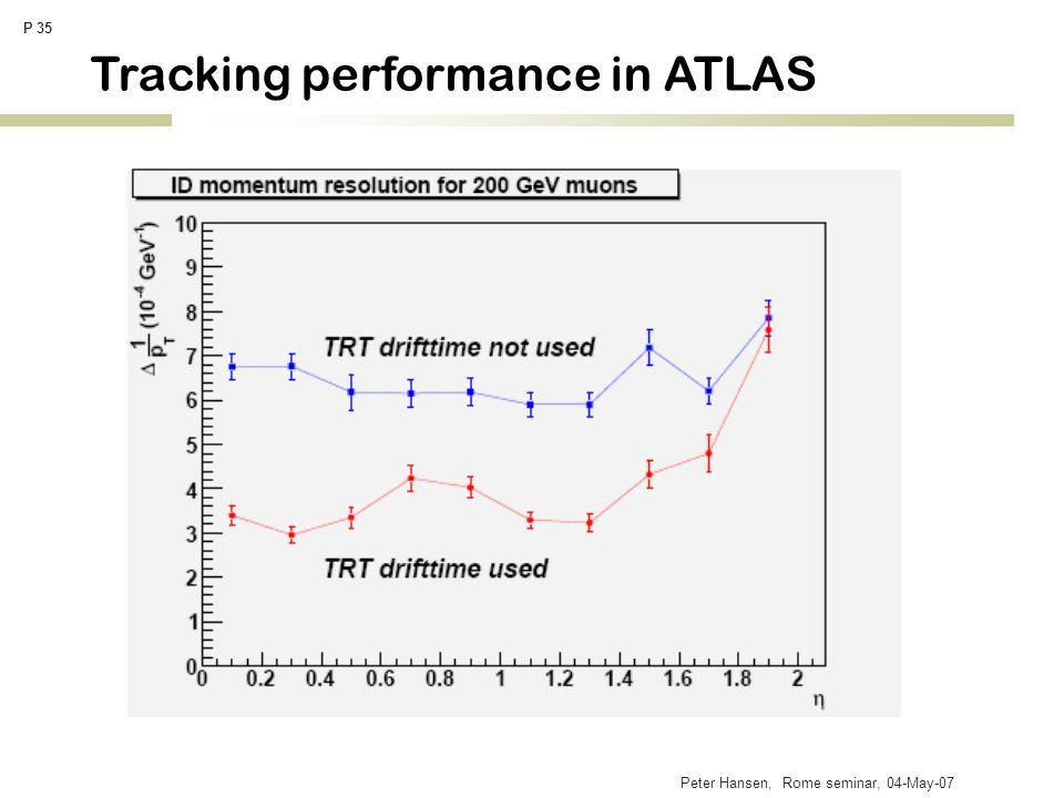 Peter Hansen, Rome seminar, 04-May-07 P 35 Tracking performance in ATLAS