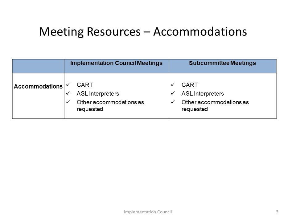 Meeting Resources – Accommodations Implementation Council MeetingsSubcommittee Meetings Accommodations CART ASL Interpreters Other accommodations as requested CART ASL Interpreters Other accommodations as requested 3Implementation Council