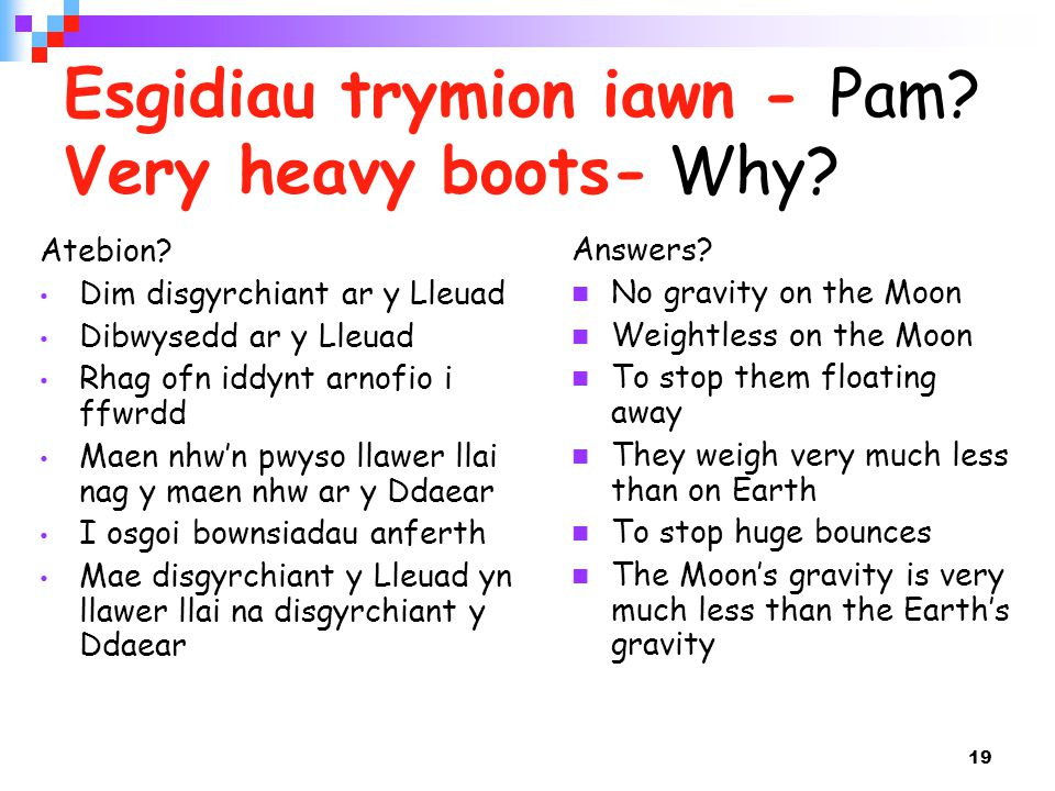 19 Esgidiau trymion iawn - Pam? Very heavy boots- Why? Answers? No gravity on the Moon Weightless on the Moon To stop them floating away They weigh ve