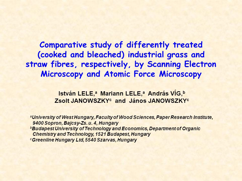 Comparative study of differently treated (cooked and bleached) industrial grass and straw fibres, respectively, by Scanning Electron Microscopy and At