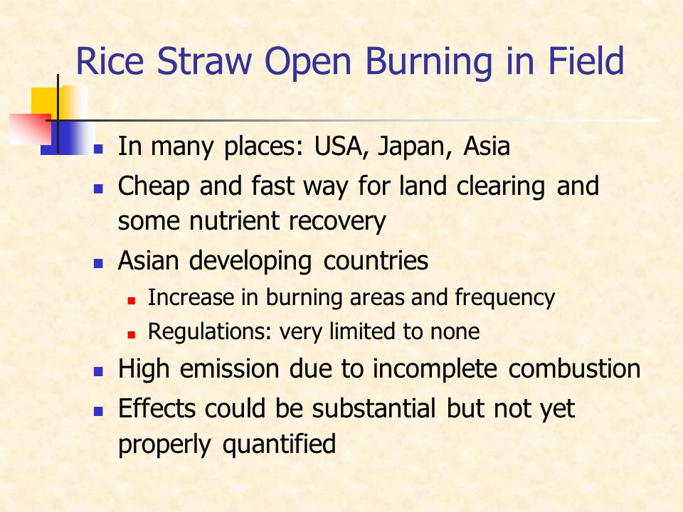 Rice Straw Open Burning in Field In many places: USA, Japan, Asia Cheap and fast way for land clearing and some nutrient recovery Asian developing cou