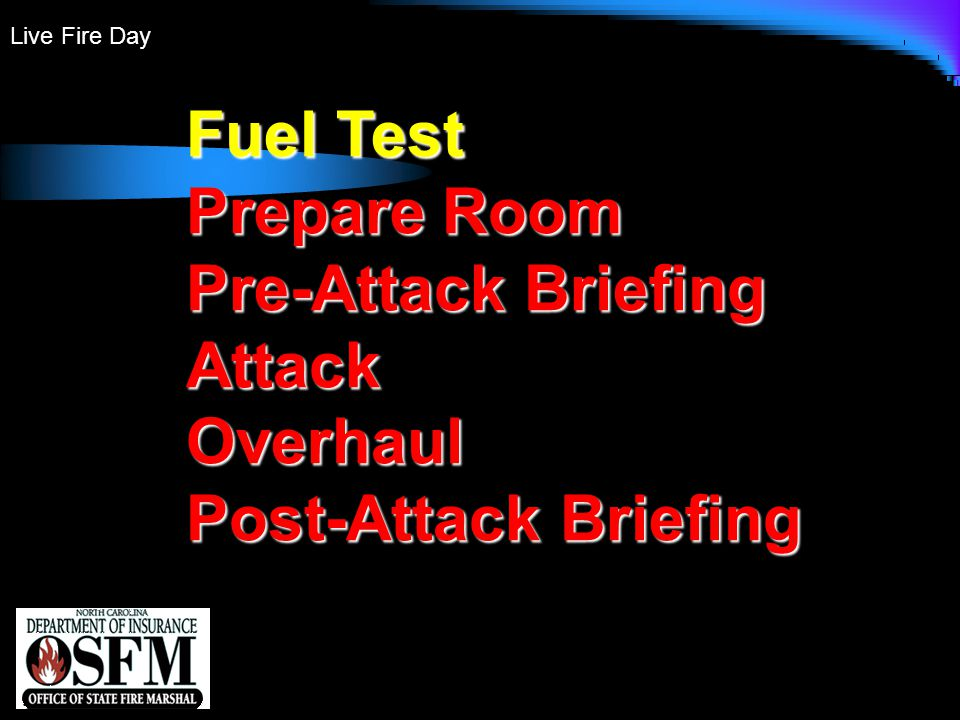 Live Fire Day Fuel Test Prepare Room Pre-Attack Briefing AttackOverhaul Post-Attack Briefing