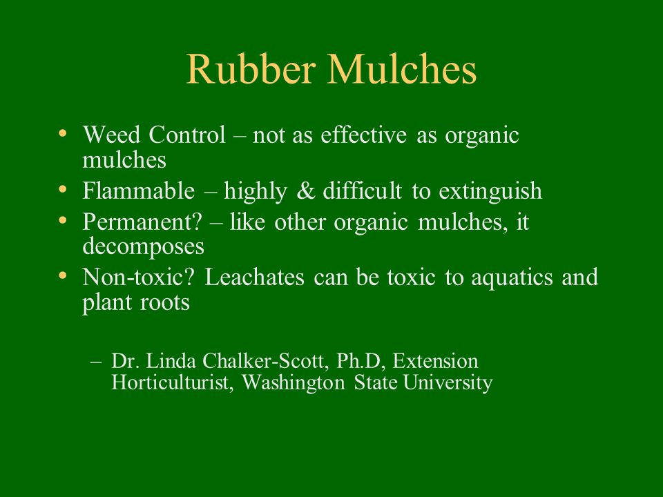 Rubber Mulches Weed Control – not as effective as organic mulches Flammable – highly & difficult to extinguish Permanent.