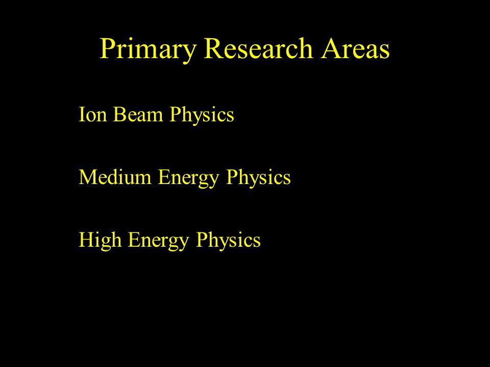 Primary Research Areas Ion Beam Physics Medium Energy Physics High Energy Physics