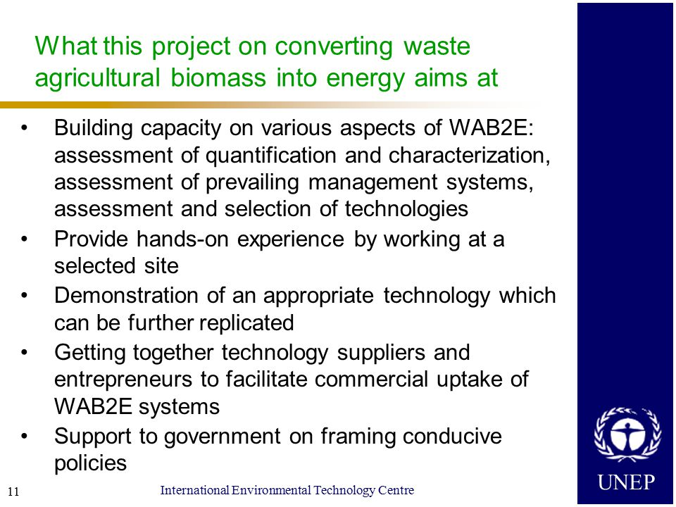 UNEP International Environmental Technology Centre 11 What this project on converting waste agricultural biomass into energy aims at Building capacity on various aspects of WAB2E: assessment of quantification and characterization, assessment of prevailing management systems, assessment and selection of technologies Provide hands-on experience by working at a selected site Demonstration of an appropriate technology which can be further replicated Getting together technology suppliers and entrepreneurs to facilitate commercial uptake of WAB2E systems Support to government on framing conducive policies