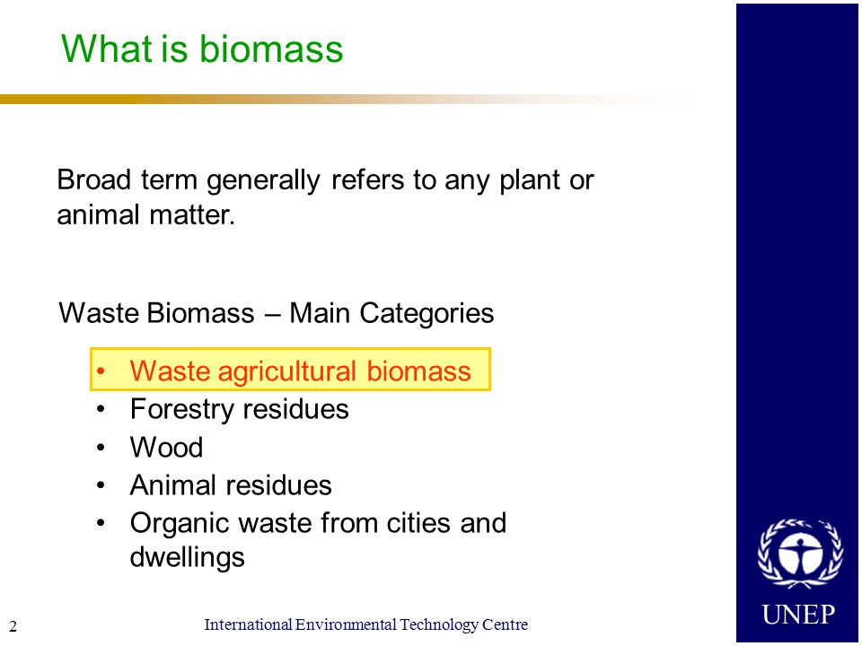 UNEP International Environmental Technology Centre 3 Why convert waste agricultural biomass into energy/materials .