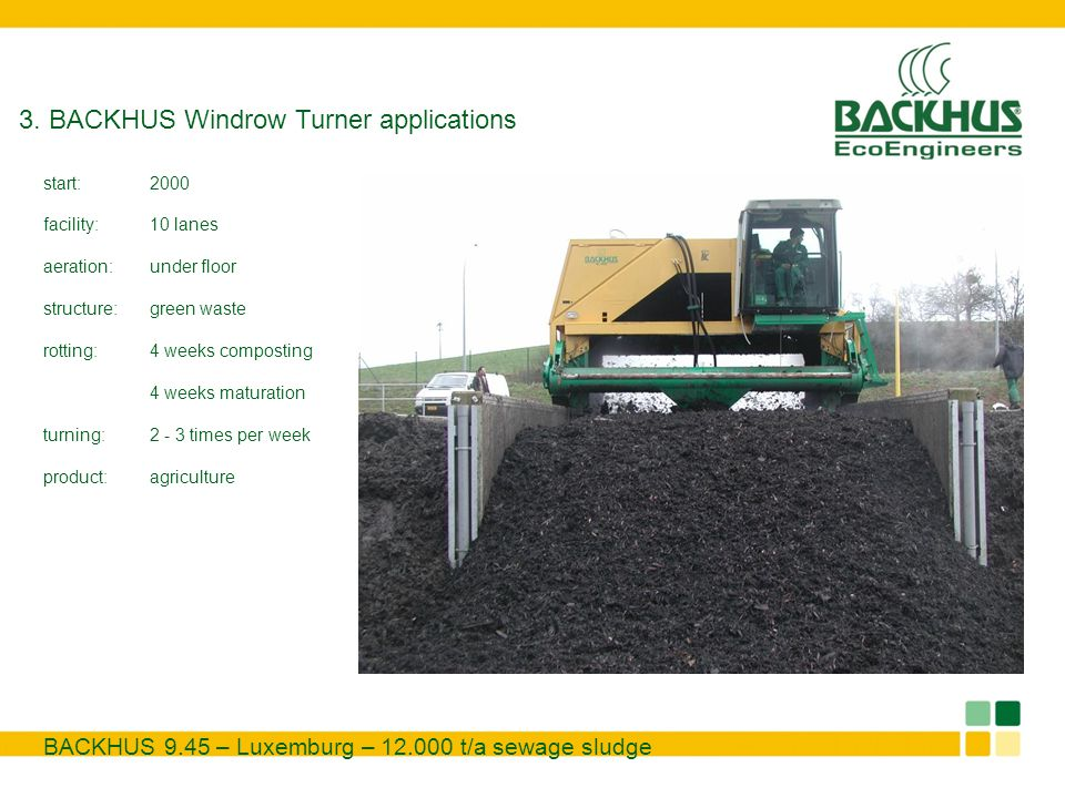 3. BACKHUS Windrow Turner applications BACKHUS 9.45 – Luxemburg – 12.000 t/a sewage sludge start:2000 facility:10 lanes aeration:under floor structure