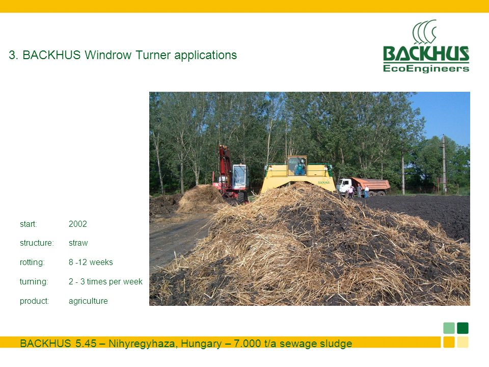 3. BACKHUS Windrow Turner applications BACKHUS 5.45 – Nihyregyhaza, Hungary – 7.000 t/a sewage sludge start:2002 structure:straw rotting:8 -12 weeks t