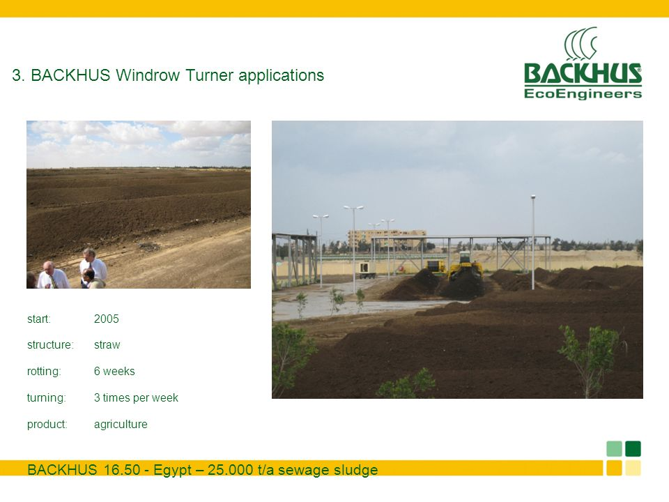 BACKHUS 16.50 - Egypt – 25.000 t/a sewage sludge 3. BACKHUS Windrow Turner applications start:2005 structure:straw rotting:6 weeks turning:3 times per