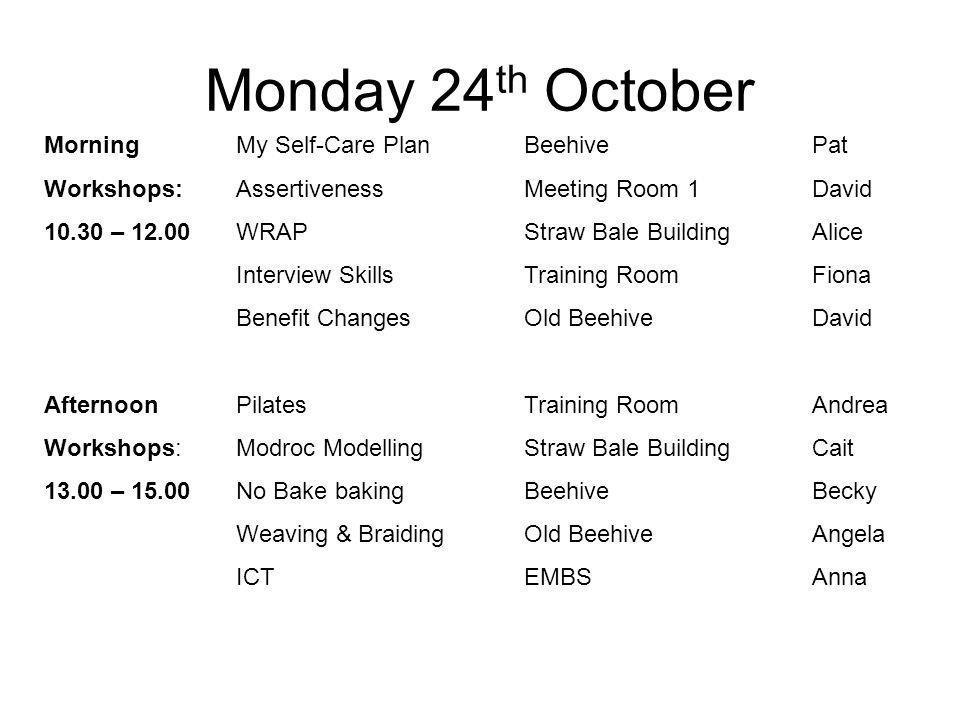 Morning My Self-Care PlanBeehivePat Workshops: AssertivenessMeeting Room 1David 10.30 – 12.00 WRAPStraw Bale BuildingAlice Interview SkillsTraining Ro