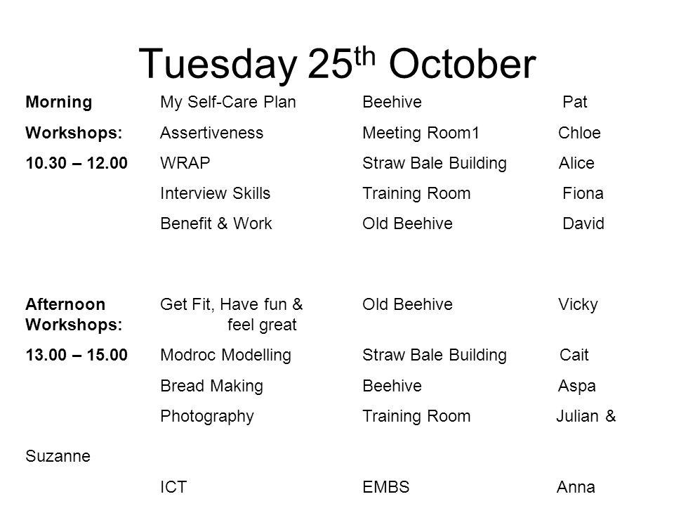 Morning My Self-Care PlanBeehive Pat Workshops: AssertivenessMeeting Room1 Chloe 10.30 – 12.00WRAPStraw Bale Building Alice Interview SkillsTraining R