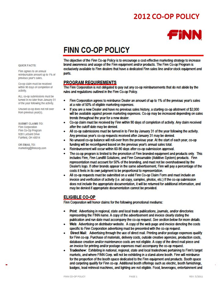 2012 CO-OP POLICY