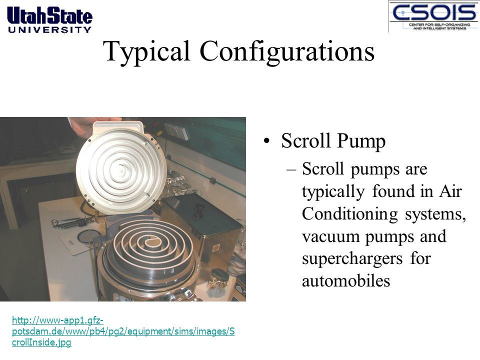 Typical Configurations Scroll Pump –Scroll pumps are typically found in Air Conditioning systems, vacuum pumps and superchargers for automobiles http://www-app1.gfz- potsdam.de/www/pb4/pg2/equipment/sims/images/S crollInside.jpg