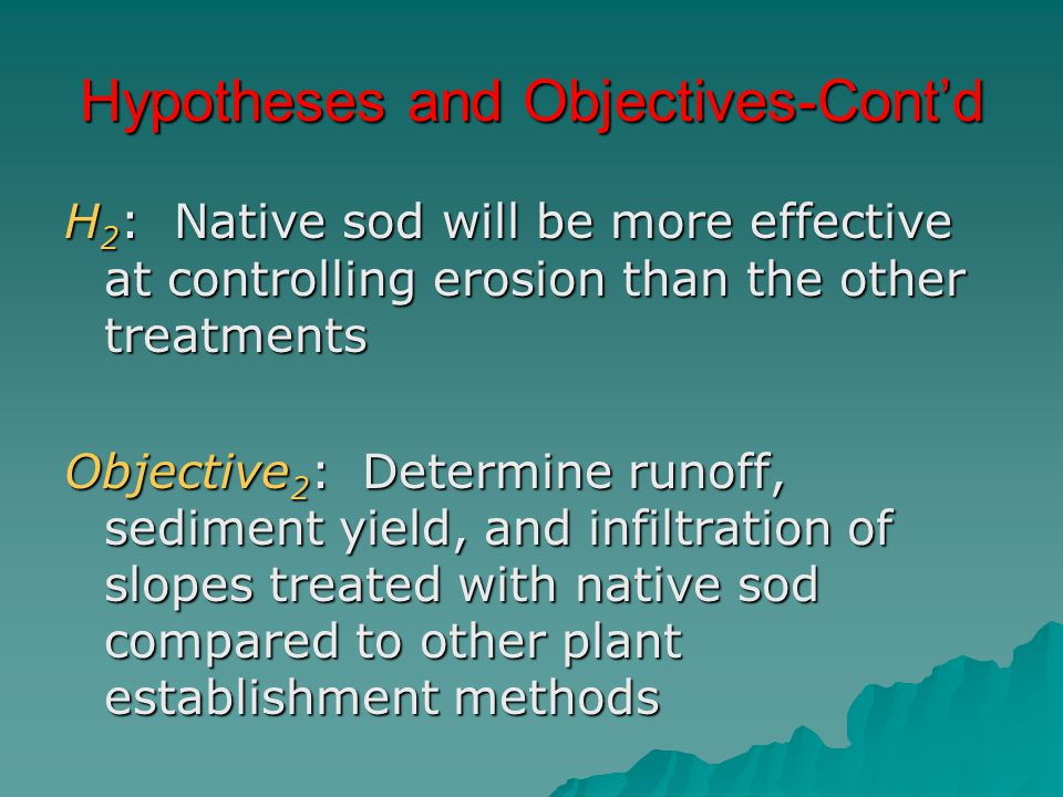 Hypotheses and Objectives-Cont'd H 2 : Native sod will be more effective at controlling erosion than the other treatments Objective 2 : Determine runo
