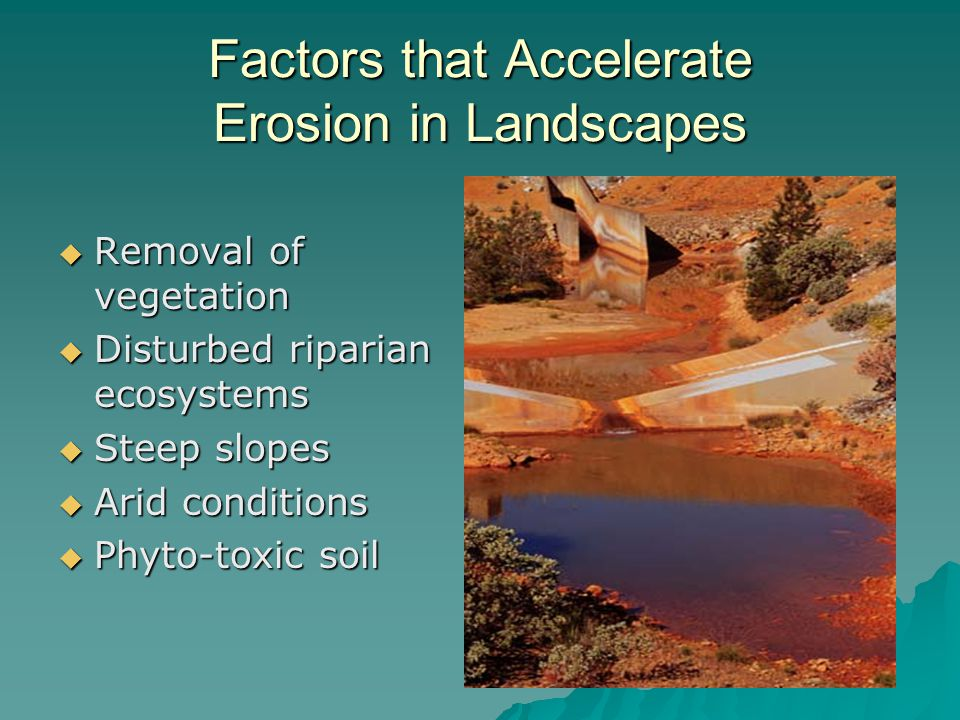 Factors that Accelerate Erosion in Landscapes  Removal of vegetation  Disturbed riparian ecosystems  Steep slopes  Arid conditions  Phyto-toxic soil
