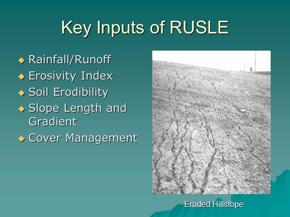 Key Inputs of RUSLE  Rainfall/Runoff  Erosivity Index  Soil Erodibility  Slope Length and Gradient  Cover Management Eroded Hillslope