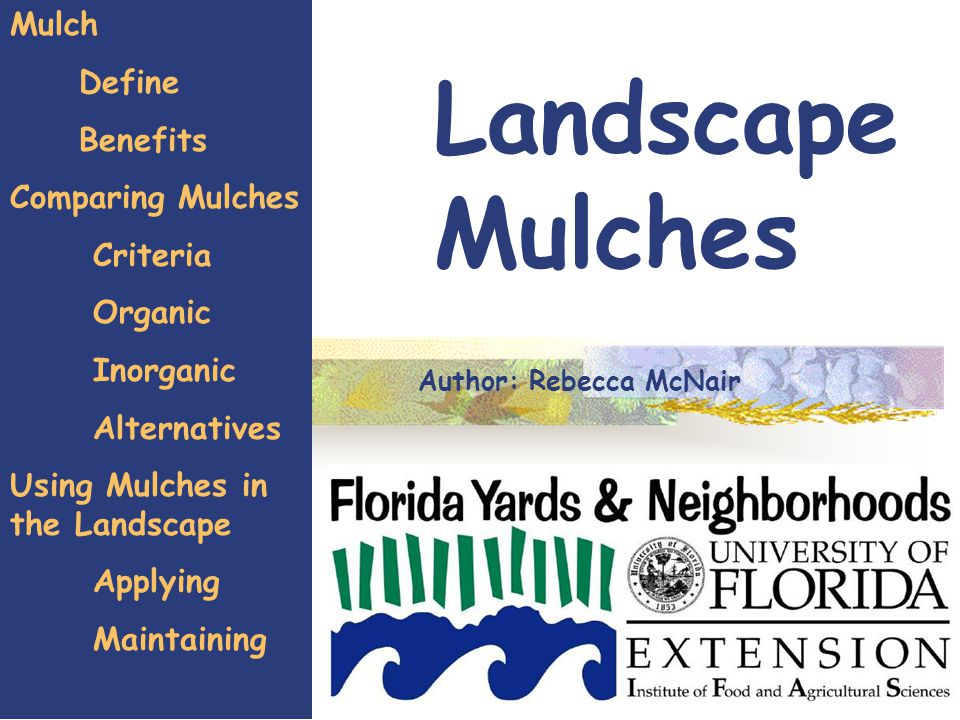 1 Landscape Mulches Mulch Define Benefits Comparing Mulches Criteria Organic Inorganic Alternatives Using Mulches in the Landscape Applying Maintaining Author: Rebecca McNair