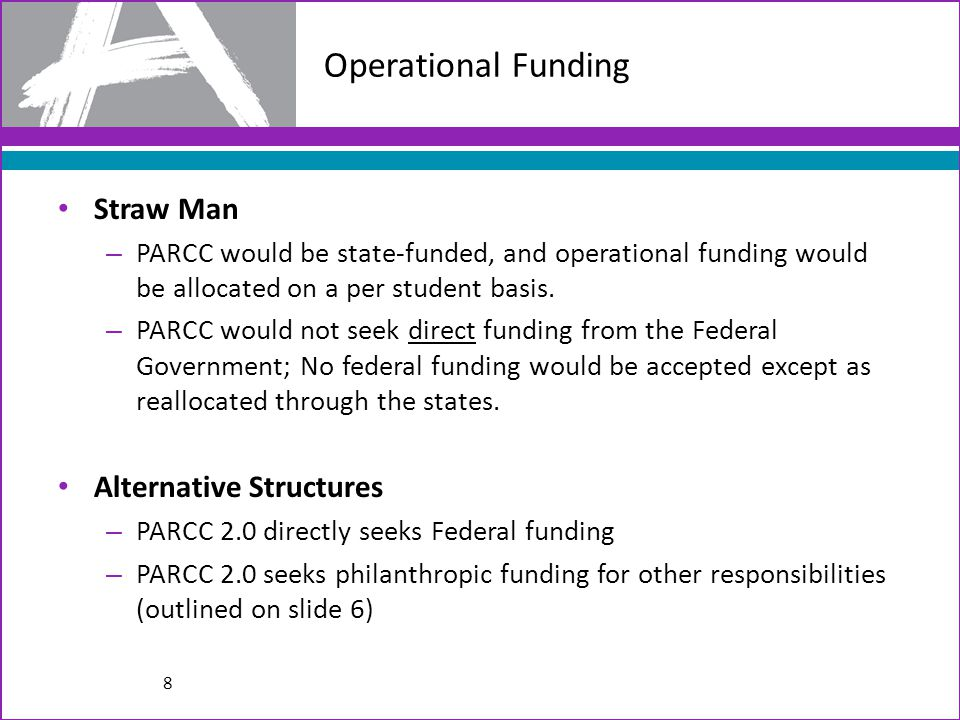 Operational Funding Straw Man – PARCC would be state-funded, and operational funding would be allocated on a per student basis.