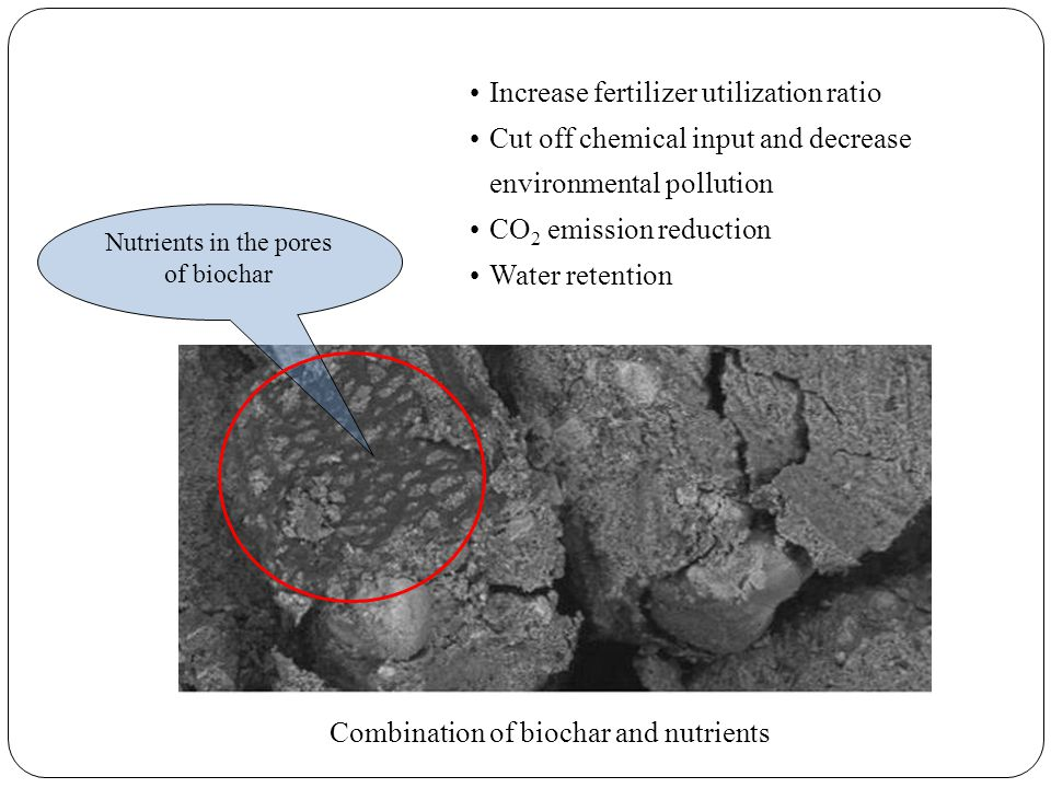 Nutrients in the pores of biochar Combination of biochar and nutrients Increase fertilizer utilization ratio Cut off chemical input and decrease environmental pollution CO 2 emission reduction Water retention