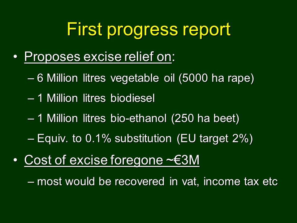 First progress report Proposes excise relief on:Proposes excise relief on: –6 Million litres vegetable oil (5000 ha rape) –1 Million litres biodiesel