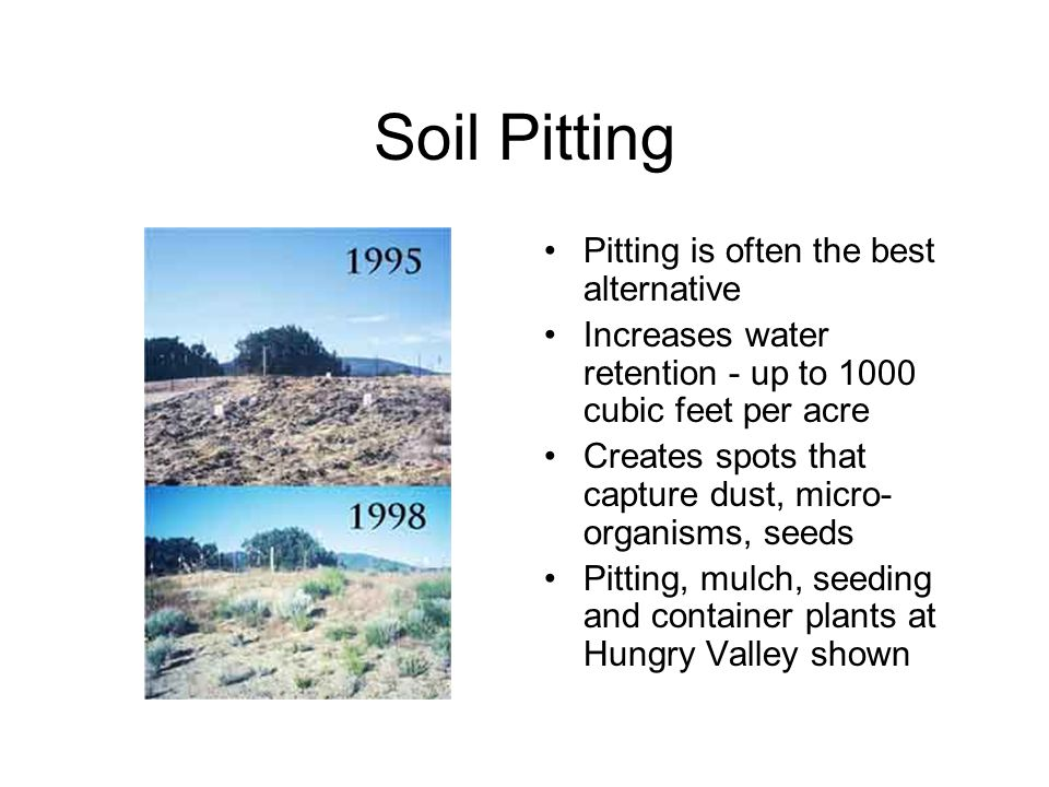 Soil Pitting Pitting is often the best alternative Increases water retention - up to 1000 cubic feet per acre Creates spots that capture dust, micro- organisms, seeds Pitting, mulch, seeding and container plants at Hungry Valley shown