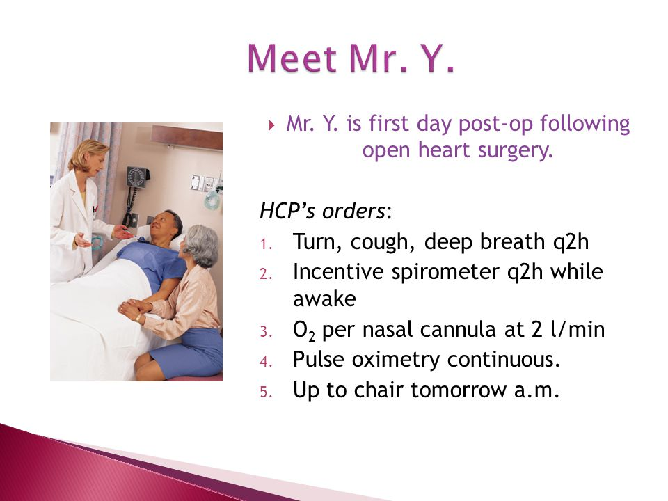  Mr. Y. is first day post-op following open heart surgery.