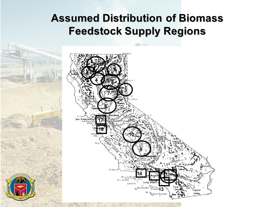 Assumed Distribution of Biomass Feedstock Supply Regions Cellulosic biomass regions 16, , 19