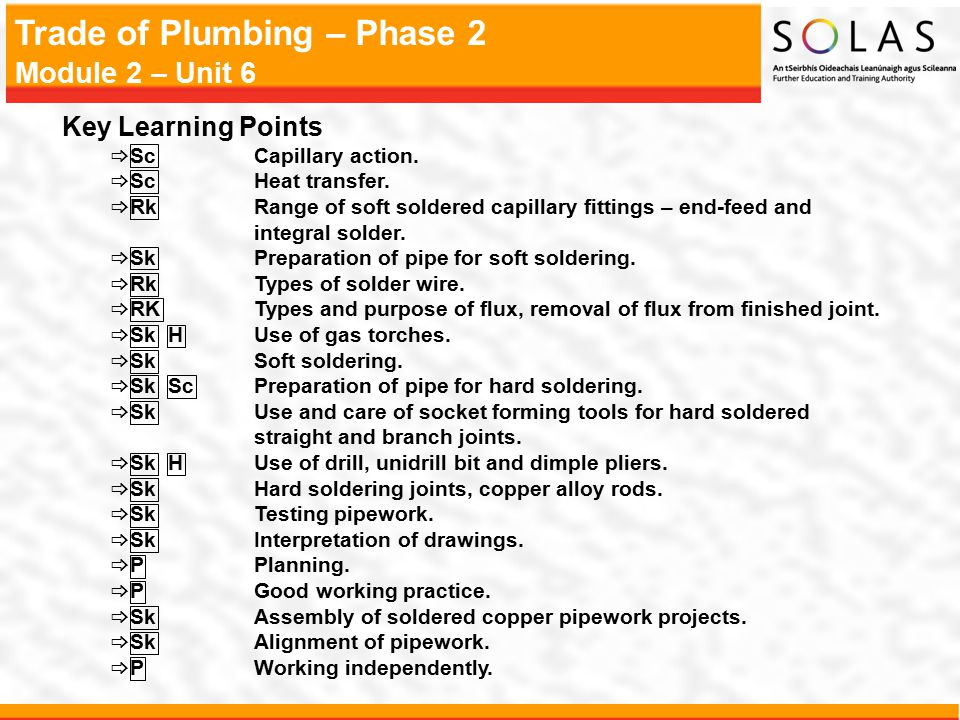 Trade of Plumbing – Phase 2 Module 2 – Unit 6 Key Learning Points  ScCapillary action.