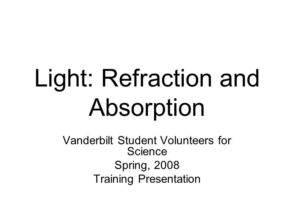 Light: Refraction and Absorption Vanderbilt Student Volunteers for Science Spring, 2008 Training Presentation