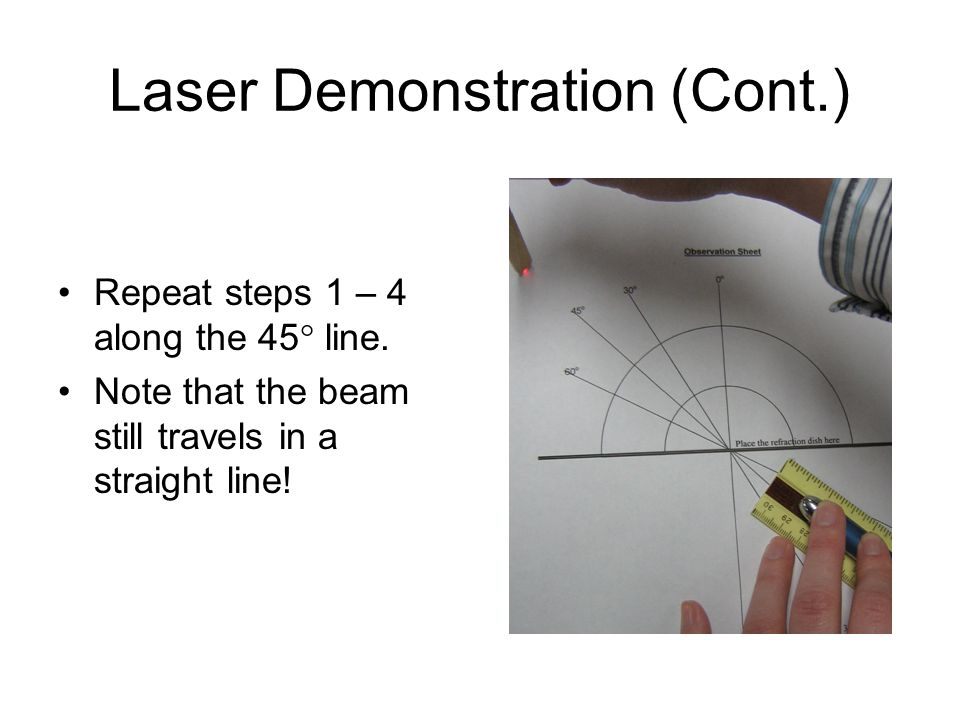 Laser Demonstration (Cont.) Repeat steps 1 – 4 along the 45  line.