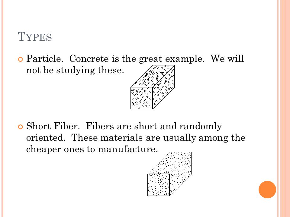T YPES Particle. Concrete is the great example. We will not be studying these. Short Fiber. Fibers are short and randomly oriented. These materials ar