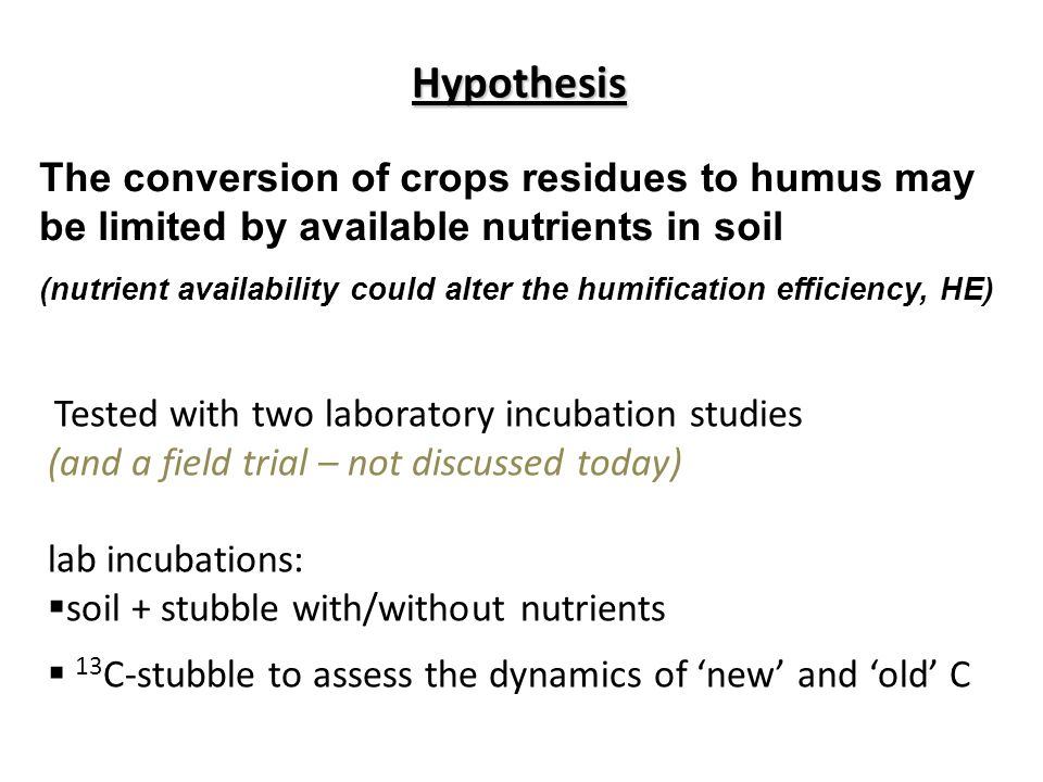The conversion of crops residues to humus may be limited by available nutrients in soil (nutrient availability could alter the humification efficiency