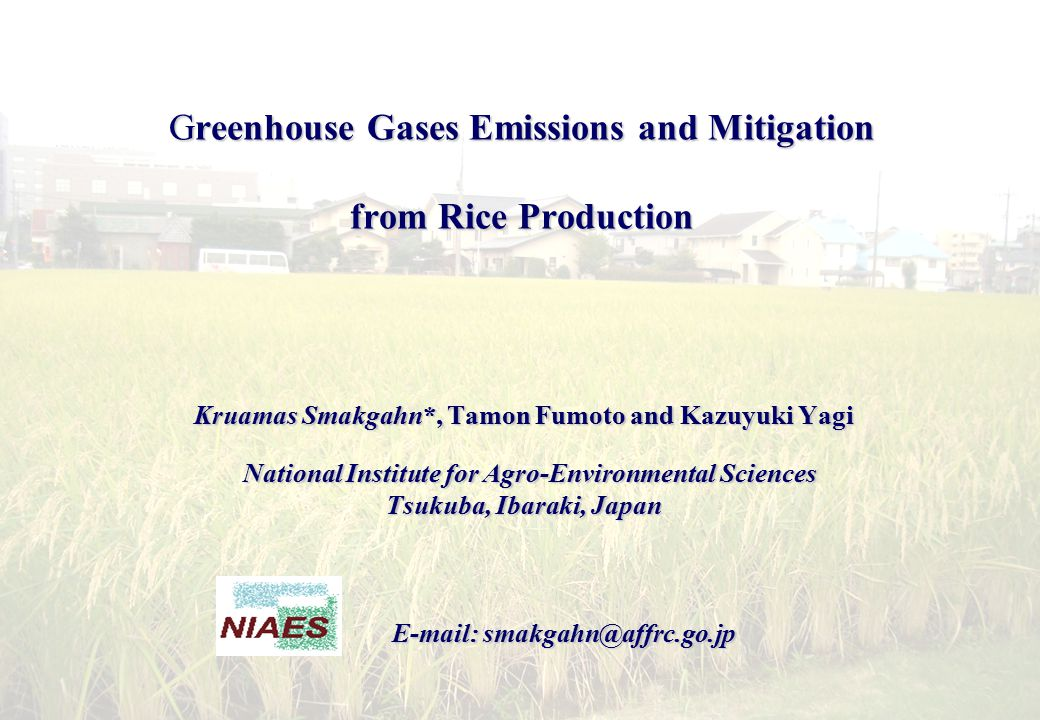Greenhouse Gases Emissions and Mitigation from Rice Production Kruamas Smakgahn*, Tamon Fumoto and Kazuyuki Yagi National Institute for Agro-Environmental Sciences National Institute for Agro-Environmental Sciences Tsukuba, Ibaraki, Japan E-mail: smakgahn@affrc.go.jp E-mail: smakgahn@affrc.go.jp
